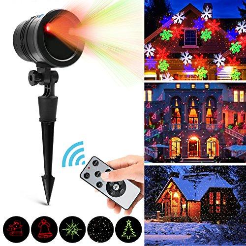 Luz de Proyección LED, Vansky® Luz de Proyección de Navidad con Control Remoto de RF, Impermeable y Resistente al Tiempo, al Aire Libre y de Interior, Luces de Paisaje Rojo y Verde Para Navidad, Halloween, Fiesta y Decoración