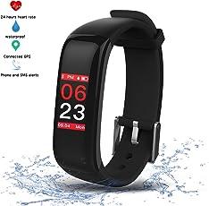 Activity Tracker Sport Braccialetto Intelligente Impermeabile Nuoto Cardio,Braccialetto Fitness con Touchscreen Colori,Pressione Sanguigna,Contapassi,Cronometro,Smartwatch Bluetooth perAndroid&iOS (Nero)