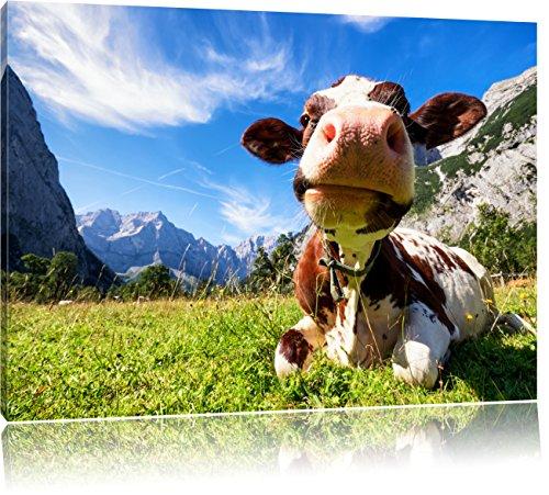 Kuh im Karwendelgebirge, Format: 120x80 auf Leinwand, XXL riesige Bilder fertig gerahmt mit Keilrahmen, Kunstdruck auf Wandbild mit Rahmen, günstiger als Gemälde oder Ölbild, kein Poster oder Plakat