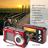 Waterproof Digital Camera Double Screen 16X Zoom 1920x1080 Full HD 24MP Mini Camcorder Superior Video Camera Diving Sports Cam Smile Capture Anti-shake Camera Red