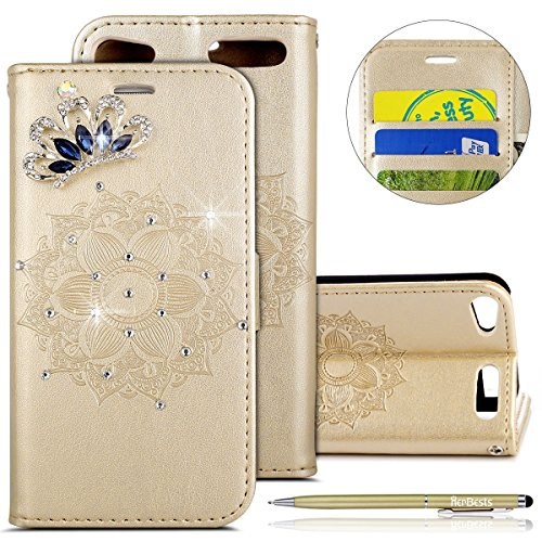Kompatibel mit Hülle iPod Touch 5/6 Klapphülle Leder Flip Case Cover Glitzer Bling Strass Diamant 3D Mandala Blumen Handyhülle Bookstyle Leder Tasche Handytasche Lederhülle,Gold - 3d-cases Den Bling 5 Ipod Für