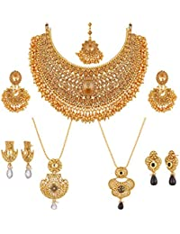Apara Gold Plated LCT Necklace And Ball Chain Pendant Set Conbo For Women