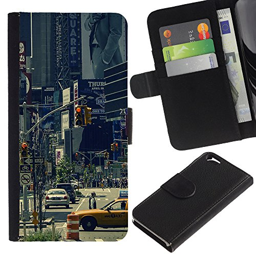 Graphic4You New York City Tilt Shift Postkarte Ansichtskarte Design Brieftasche Leder Hülle Case Schutzhülle für Apple iPhone 6 / 6S Design #3