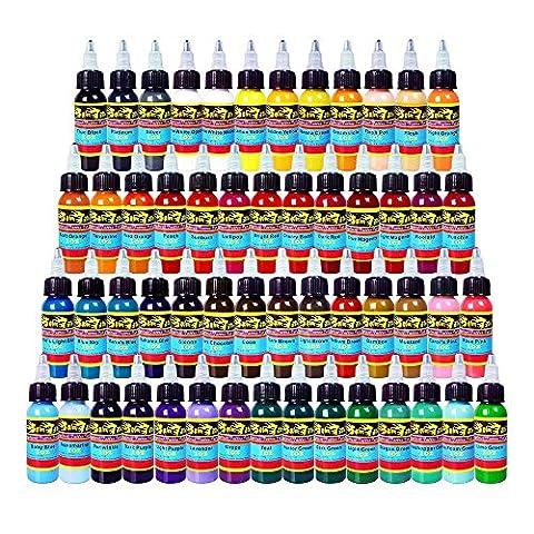 Solong Tattoo® Encre de Tatouage 54 Couleurs Complète 1OZ 30ml /Bouteille Kit de Tatouage Pigment TI301-30-54