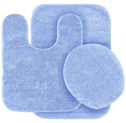 Elegant Home 3-Teiliges Badezimmer Teppich-Set Bad Teppich, Contour Matte, Deckel Bezug Rutschfest mit Gummirückseite Farbe # 6 Hellblau (Braun Bad Contour Teppich)