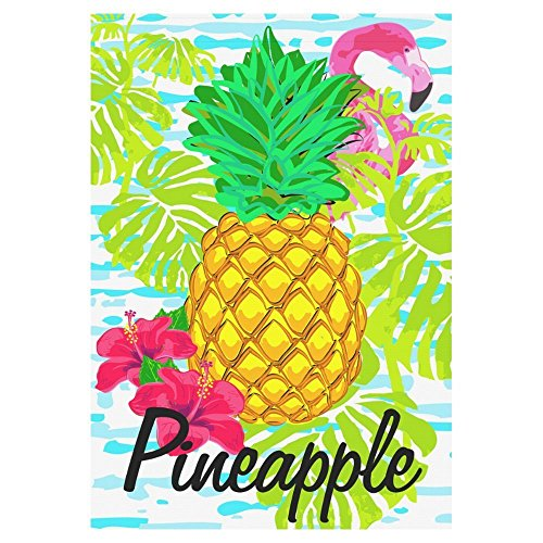 interestprint Tropische Ananas mit Flamingo Polyester Garten Flagge Haus Banner 71,1 x 101,6 cm, Summer Time Fahne Deko für Hochzeit Party Yard Home Outdoor Decor, Polyester, multi, 28x40