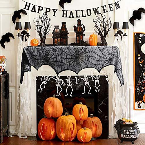 /Schal für Halloween, Schwarze Spitze, Spinnennetz, Festliche Party-Zubehör, für Fenster und Außenbereich, 45,7 x 243,6 cm ()