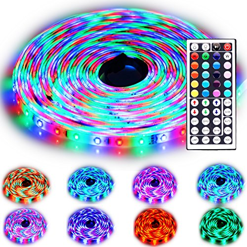 Rxment Led Strip Lighting 10M 32.8 Ft 3528 RGB 600LEDs IP65 Waterproof Flexible Color Changing Full Kit with 44 Keys IR Remote Controller , IR Control Box ,24V 3A UK Power Supply for Home Decorative