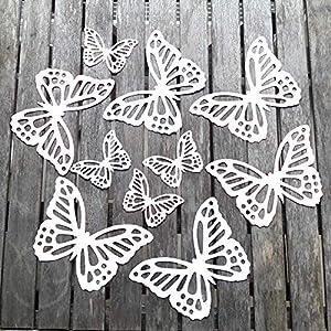 10 Schmetterlinge aus hochwertigem Fotokarton Weiß als Wanddeko Deko für die Fenster oder als Tischdeko Geschenkanhänger…