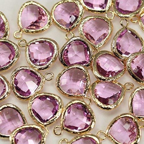 4pezzi di lavanda sfaccettato briolette perline Connettori Bazel vetro con ciondoli perline su ottone placcato oro 16K, connettori per orecchini risultati, collana, gioielli forniture-Annielov fg-16