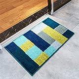 Puerta Minimalista Moderno Qianmo-Carpets Pasillo Mat Alfombra De Entrada Dormitorio Baño Baño Estera Absorbente De Agua Pie Cuadrado Cojín Antideslizante Azul 45X65Cm.