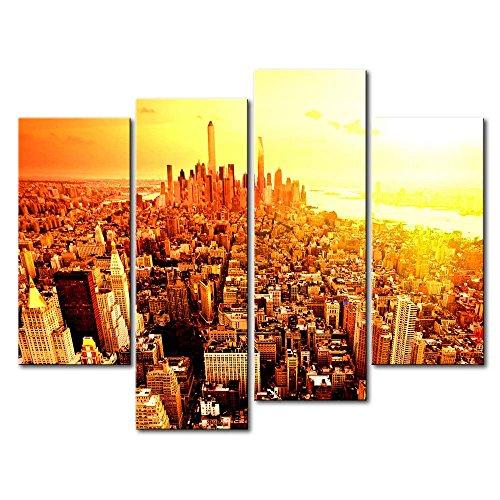ür Home Decor NEW YORK CITY Sunrise 4Stück Gemälde Moderne Giclée-gespannt und gerahmt Artwork Öl der City Bilder Foto Prints auf Leinwand (Das Empire Hotel New York Halloween)
