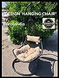 """Eurolandia 90643 - """" Design Hanging Chair """" Sedia Ovetto a Dondolo Sospesa NERA"""