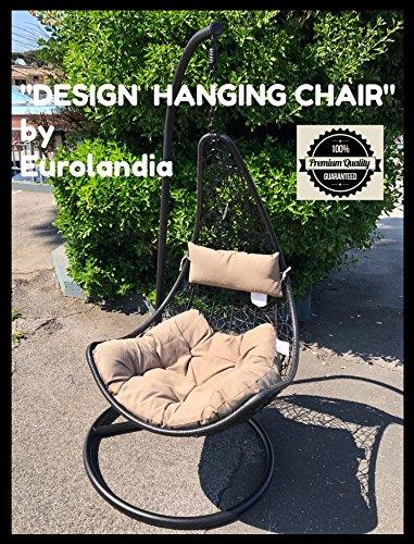 Eurolandia 90643 - ' Design Hanging Chair ' Sedia Ovetto a Dondolo Sospesa NERA