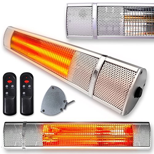 the Futura Deluxe Wall Mounted Electric Infrared Outdoor Garden Patio Heater 2000W, Waterproof, Remote Control Included
