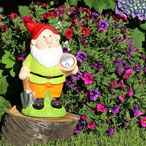 Solar Gartenzwerg klassisch 22cm mit Solarlampe Gartendeko Garten-Figur - 3