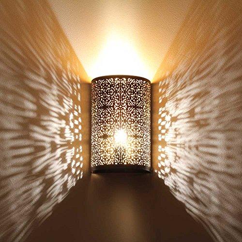 albena shop 71-5315 Kavita oriental lámpara de pared estilo marroquí 30 x 19 cm metal negro / oro interior