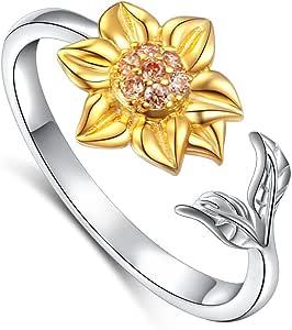 Daochong - Gioielli da donna in argento Sterling 925, orecchini, collana con pendente, anello aperto regolabile, decorati con girasole con zirconia cubica