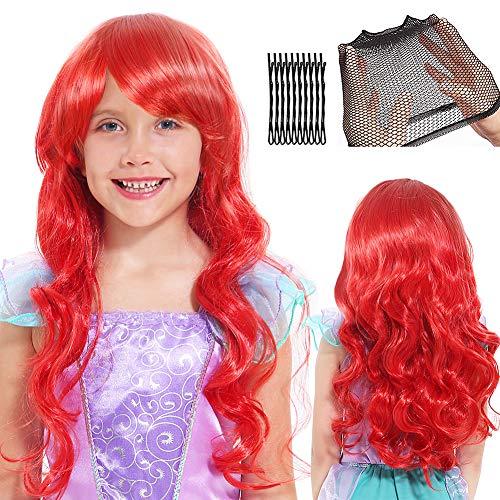 Sirena Peluca para Mujer Niños Cosplay Peluca Largo Rojo Rizado Peluca con Gorro de Peluca y Pinza de Pelo para Cosplay Halloween Peluca Disfraz Accesorios