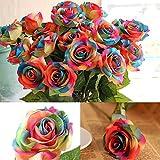 Künstliche Regenbogen Farbenen Rose Blume (1 Stück)