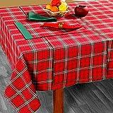 Homescapes Weihnachtliche Tischdecke Edward Tartan 140 x 230 cm mit Schottenmuster aus 100% Baumwolle