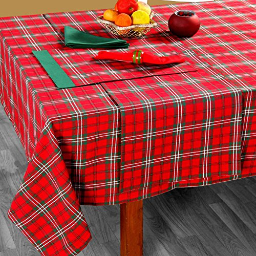 (Homescapes Weihnachtliche Tischdecke Edward Tartan 140 x 180 cm mit Schottenmuster aus 100% Baumwolle)