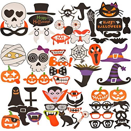 (Tatuo 52 Stück Halloween Party Photo Booth Requisiten Halloween Requisiten DIY Bilder Gefälligkeiten für Party Dekorationen)