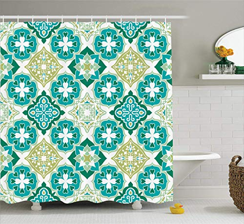 LongTrade Moroccan Decor Shower Curtain Duschvorhang Set, Colored Tiled Pattern with Geometrical Diagonal and Triangle Forms Oldest Craft, Bathroom Accessories, Green Teal 48x72 inch - 48 Triangle Form