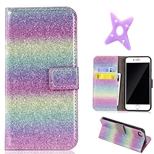 MAOOY iPhone 6sPlus Lederhülle, Flash Bling Glitter Wallet Case für iPhone 6Plus, Bookstyle Flip Cover mit Standfunktion & Karten Slot & Magnetverschluss für iPhone 6Plus/6sPlus, Gradient Green 4