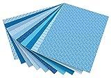 folia 46409 - Motivkarton Basics, 50 x 70 cm, 10 Bogen sortiert, blau