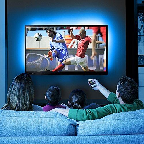 Albrillo LED TV Hintergrundbeleuchtung 4×50cm, RGB Streifen mit Fernbedienung und USB Powered für 40 bis 60 Zoll Fernseher