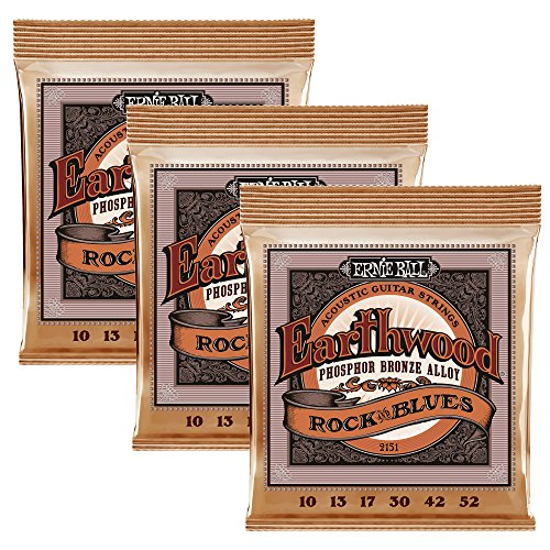 Ernie Ball Earthwood Rock und Blues w / Plain G Phosphor Bronze Akustikgitarre Saiten 3 Pack - 10-52 Gauge