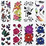 Alohha, tatuaggio temporaneo, motivi rose, peonie, farfalle, effetto 3D, da donna