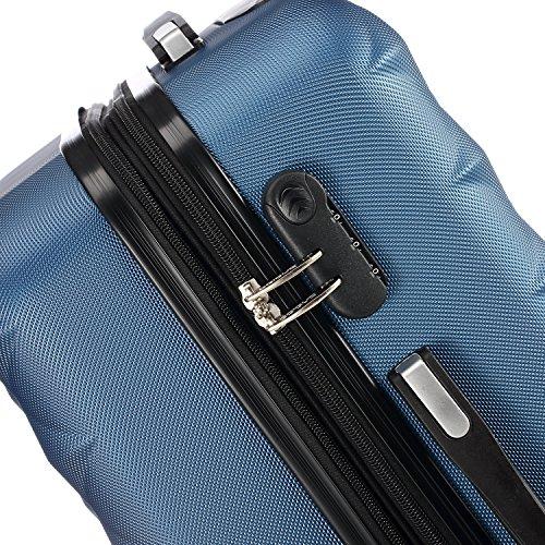 BEIBYE Kofferset 4 Zwillingsrollen Hartschale Trolley Koffer Reisekoffer Reisekofferset Gepäckset in 12 Farben (Blau) -