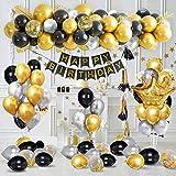 Decorazioni Feste di Compleanno con Banner di Buon Compleanno in Oro Metallizzato, Forniture di Palloncini Coriandoli in Argento Nero Oro, Palloncini in Stagnola di Lattice Corona Per Compleanno