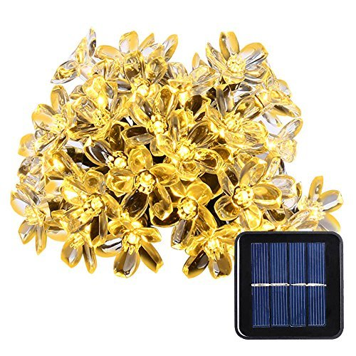 Qedertek Fairy Blossom Flower Solar String Lights, 21ft 50 LED Christmas Decorative Lighting for Indoor and Outdoor, Home, Lawn, Garden, Wedding, Patio, Party and Holiday Decorations (Warm White) by LuckLED