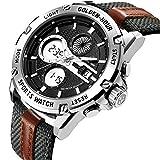 Uhren Herren Sport Digital Analog Wasserdicht Edelstahl Multifunktionale Military Grün Leder & Stoff Gurt Armee Armbanduhr