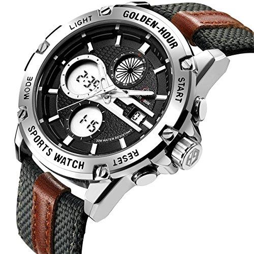 Herrenuhren Sport Digital Analog Wasserdicht Edelstahl Multifunktionale Leder & Stoff Armband Army Armbanduhr