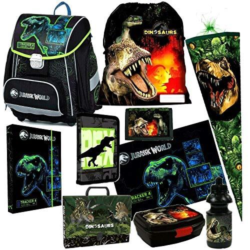 Dinosaurier Dino 10 Teile Set Schulranzen RANZEN Tasche TORNISTER SCHULTÜTE 85 cm Federmappe mit Sticker von Kids4shop