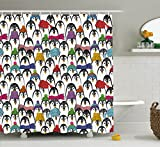 Abakuhaus Duschvorhang, Seetiere Muster mit Niedlichen Pinguinen in Bunten Hüten und Schals Kalter Winter Arktik Druck, Wasser und Blickdicht aus Stoff mit 12 Ringen Bakterie Resistent, 175 X 200 cm