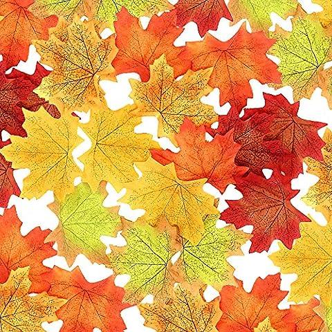 Wocharm 200pcs Mixed Artificial Autumn Maple Leaves Autumn Colors Great Autumn Table Scatters For Fall Weddings Festivals Party & Halloween Christmas Home Decor (8cm X 7cm 200 pcs)