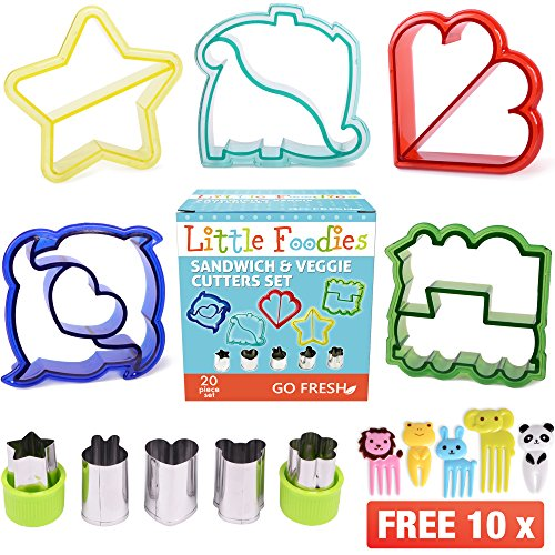 GO FRESH Ausstecher von Sandwich – [20-pcs] Sandwich Cutters for Kids with 5 sandwich shapes / cookie cutters / bread cutters – comes with 5 Vegetable Cutters and Bonus 10 Bento Decorations