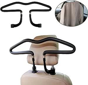 Auto Kleiderbügel Autokleiderbügel Für Kopfstütze Kopfstützen Kleiderbügel Hochwertige Ausführung Chrom Kleiderbügel 44 X 11 Cm Schwarz Auto