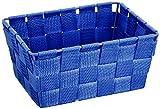 Wenko 20358100 Aufbewahrungskorb Adria Mini Blau - Badkorb, rechteckig, Kunststoff-Geflecht, Polypropylen, 14x19x9 cm