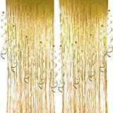 Cocodeko 2 Packung Folie Vorhang und 10 Stück Spiral Girlanden, Deckenhänger Metallic Folie Fransen Vorhänge Tür Fenster Vorhänge für Hochzeit Geburtstag Party Dekorationen - Gold