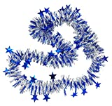 Lukis Weihnachtsbaum Girlande mit Sterne Weihnachten Lametta Weihnachtsbaum Schmuck Deko Länge 2m Blau