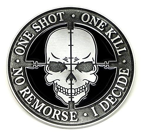 One Shot One Kill No Remorse Sniper Skull Gürtelschnalle Wappen
