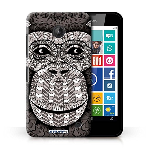 Coque en plastique pour Nokia Lumia 630 Collection Motif Animaux Aztec - Loup-Sépia Singe-Mono