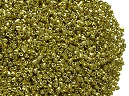 10 Gramm (ca. 1650 Stück) Tschechische Glas 3-Cuts Rocailles Preciosa, Größe 12/0 (1,8mm - 2,0mm), Rundloch, Farbe: Light Gold Metallic