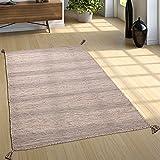 Paco Home Designer Teppich Webteppich Kelim Handgewebt 100% Baumwolle Modern Meliert Beige, Grösse:120x170 cm